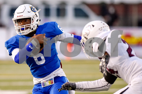 Chapel Hill quarterback Khalan Griffin (6) runs the ball during the 14th annual Christus Trinity Mother Frances Football Classic at Christus Trinity Mother Frances Rose Stadium in Tyler, Texas, on Thursday, Sept. 7, 2017. (Chelsea Purgahn/Tyler Morning Telegraph)