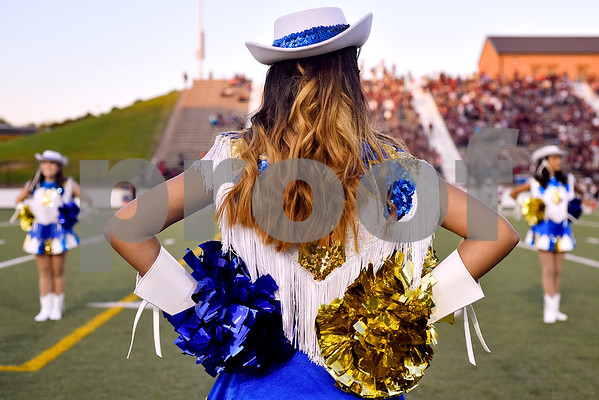 Lissette Juarez stands with other Hill Highlighter drill team members during the 14th annual Christus Trinity Mother Frances Football Classic at Christus Trinity Mother Frances Rose Stadium in Tyler, Texas, on Thursday, Sept. 7, 2017. (Chelsea Purgahn/Tyler Morning Telegraph)