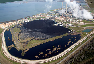 W.A. Parish Electric Generating Plant seen from the west -- over its coal supply pile.