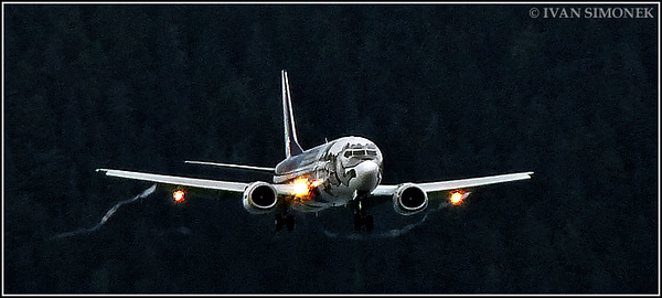 """NEW DESIGN 1"",Alaska airlines Boeing 737 approaching Wrangell,Alaska,USA."