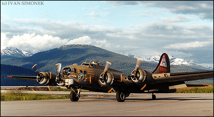 """FLYING FORTRESS"", a B-17G, Wrangell, Alaska, USA."