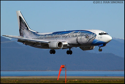 """A FISHY LANDING"",Alaska Airlines Boeing 737 (Salmon-Thirty-Salmon),Wrangell,Alaska,USA."