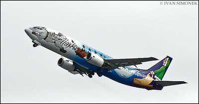 """NEW DESIGN 3"",Alaska airlines Boeing 737 departing Wrangell,Alaska,USA."