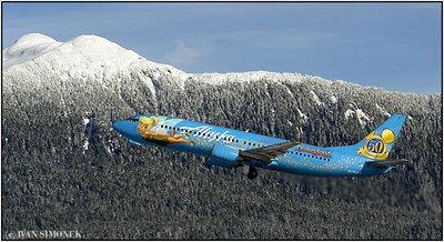 """THE JOY OF FLYING"", Alaska Airlines B737-400 taking off from Wrangell, Alaska, USA."