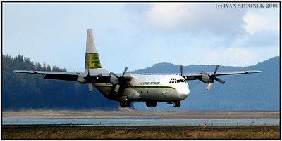 """HERCULES"", C-130 landing at Wrangell, Alaska, USA-----""HERKULES"", C-130 pristava ve Wrangellu, Aljaska, USA."