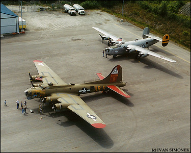 """LEGENDARY BOMBERS"", a B-17G (foreground) and a B-24J, Wrangell, Alaska, USA."