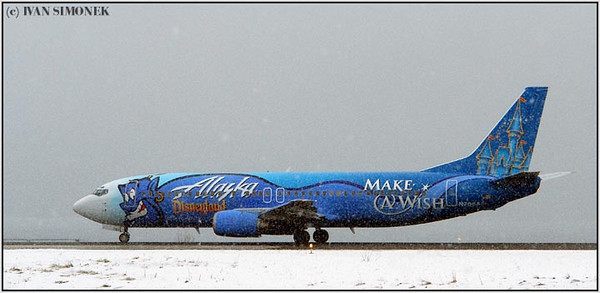 """THE WISH IS OBVIOUS"", Alaska airlines Boeing 737 getting ready for take off in a blizzard, Wrangell, Alaska, USA."