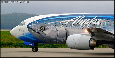 """A NOSE ON THE NOSE"",Alaska Airlines Boeing 737,Wrangell,Alaska,USA."