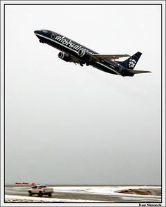"""""""PLANE KNOWN AS DOT COM"""" differs from other Alaska airlines planes by a dark coat.-----""""LETADLO ZNAME JAKO DOT COM"""" se lisi od ostatnich letadel aljasskych aerolinek tmavou barvou."""
