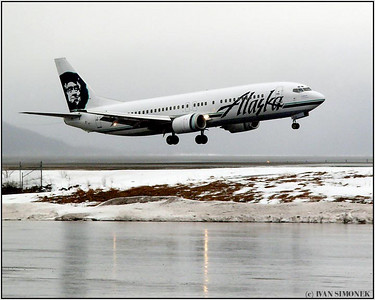 """MADE IT"", Alaska airlines Boeing 737 landing at Wrangell, Alaska, USA."