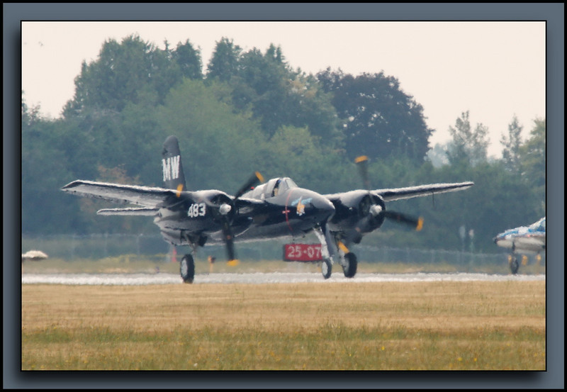 "F7F Tigercat ""Bad Kitty"" through the heat haze and a wee bit out of focus."