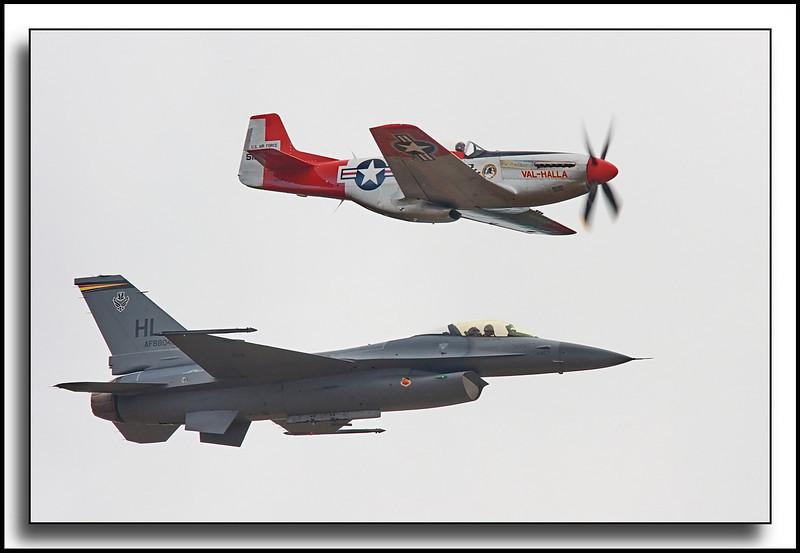 "top - WWII era P51D Mustang ""Val-Halla"" <br /> bottom - F-16C Viper"