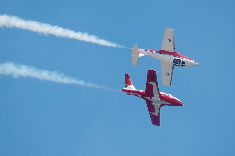 CAF Snowbirds - corkscrewing around each other, canopy to canopy