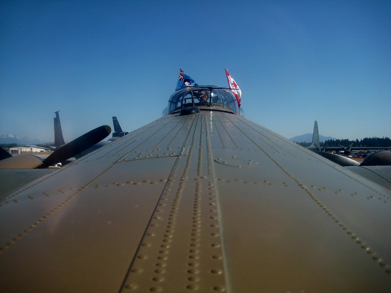 View from mid-fuselage top turret.