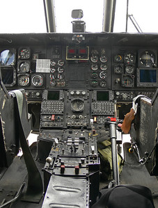 Cockpit of one of the support helicopters