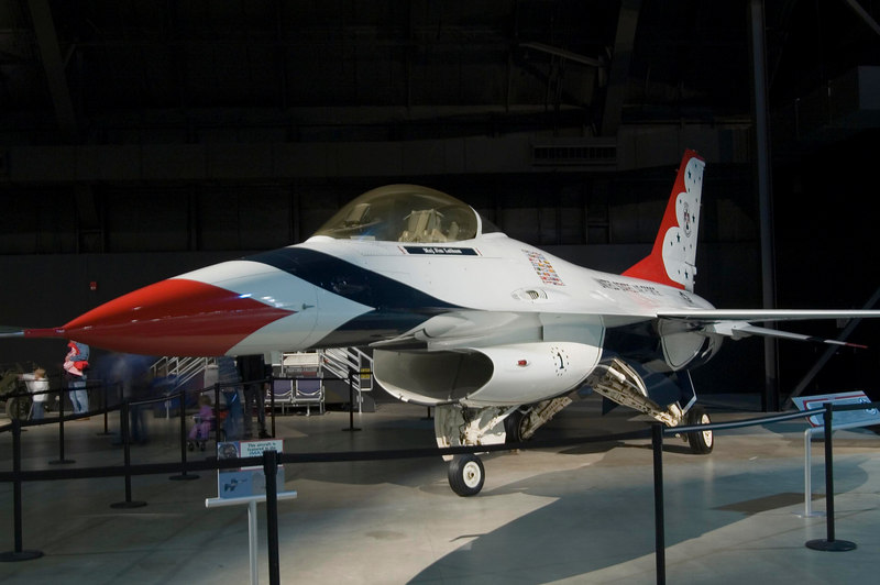General Dynamics F-16A Fighting Falcon in Thunderbirds livery at NMUSAF