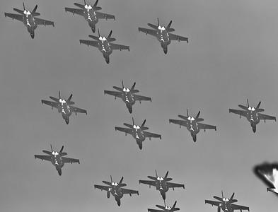 "Alternate Processing - ""Hardcore Acros"" - Australian Air Force F/A-18 Super Hornet Flyover, Alexandra Headland, Sunshine Coast, Queensland, Australia; Friday 21 October 2011."