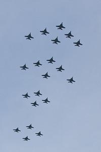 Australian Air Force F/A-18 Super Hornet Flyover, Alexandra Headland, Sunshine Coast, Queensland, Australia; Friday 21 October 2011.