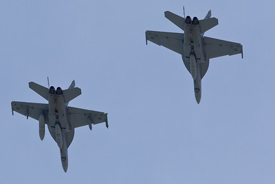 Twenty Australian Air Force F/A-18 Super Hornets - Flyover - Alexandra Headland, Sunshine Coast, Queensland, Australia. Friday 21 October 2011