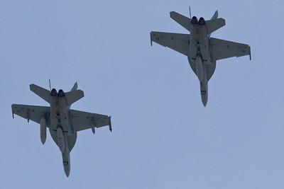 Twenty Australian Air Force F/A-18 Super Hornets - Flyover - Alexandra Headland, Sunshine Coast, Queensland, Australia. Friday 21 October 2011