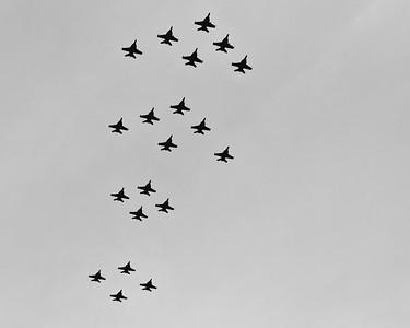 "Alternate Processing: ""Kodak T-Max 400 Auto"" - Australian Air Force F/A-18 Super Hornet Flyover, Alexandra Headland, Sunshine Coast, Queensland, Australia; Friday 21 October 2011."