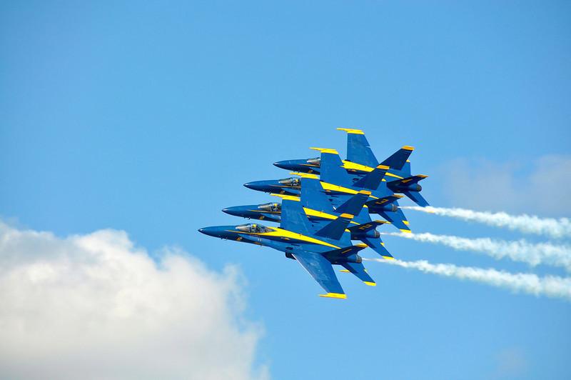 Blue Angel Flight in Echelon Formation