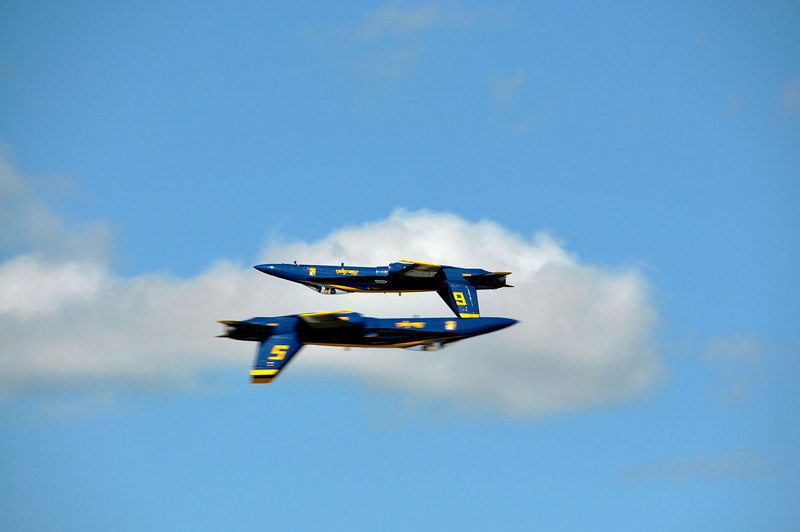 Blue Angel Solo Pilots 5 and 6 in opposing direction pass