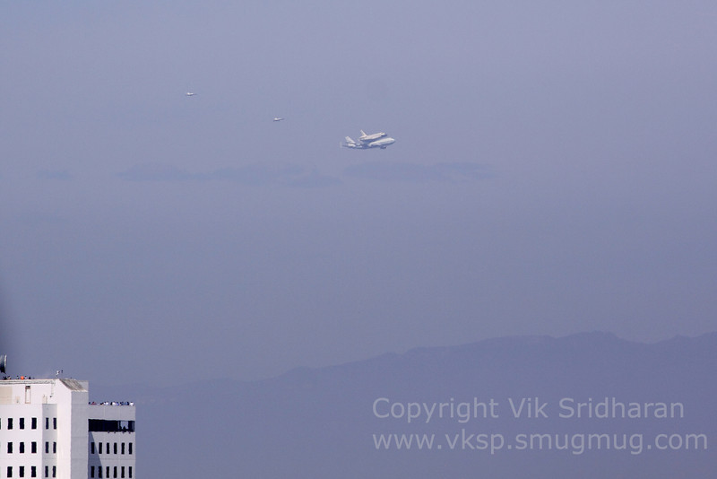 First sight of the Shuttle as it enters the LA area from the bay.
