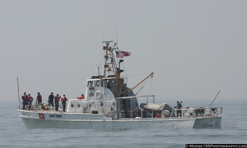 Coast Guard cutter marking show center.