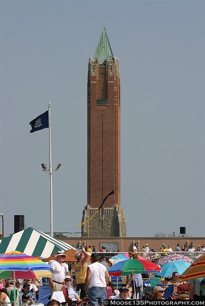 Jones Beach's landmark watertower marks show center.