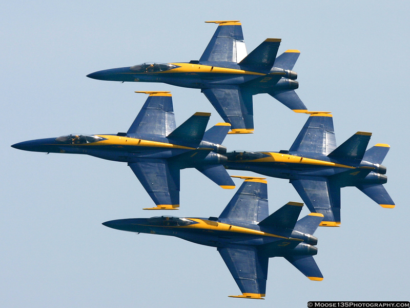 The Blue Angels in the classic diamond formation.