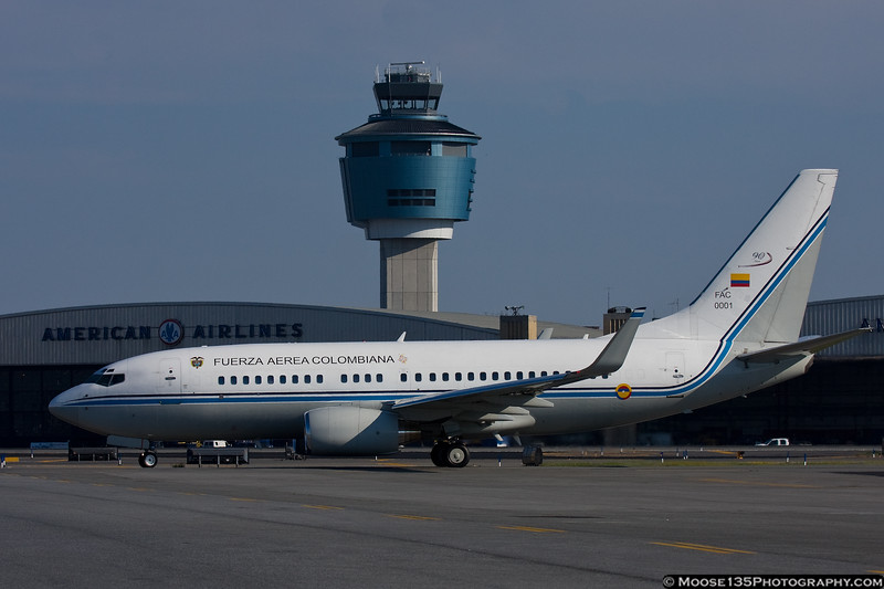 Colombian Air Force Boeing 737 departs with their President, following the opening of the UN General Assembly