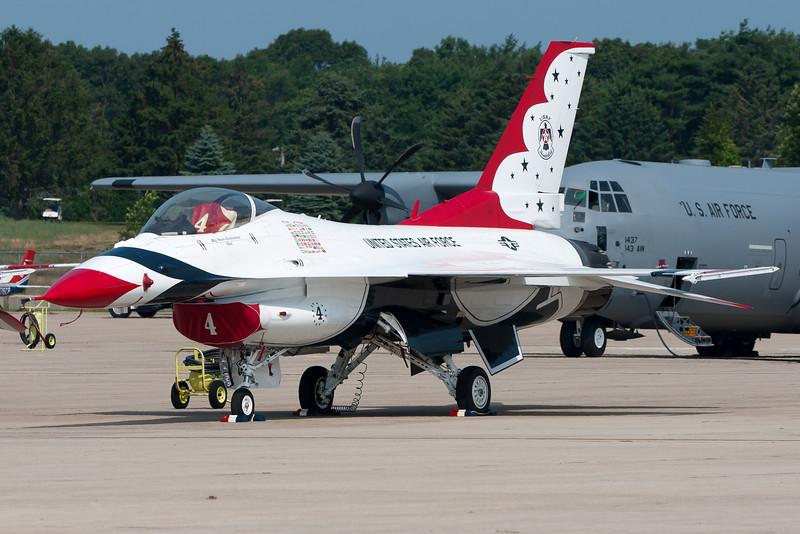 A Thunderbird F-16 parked on the ramp.