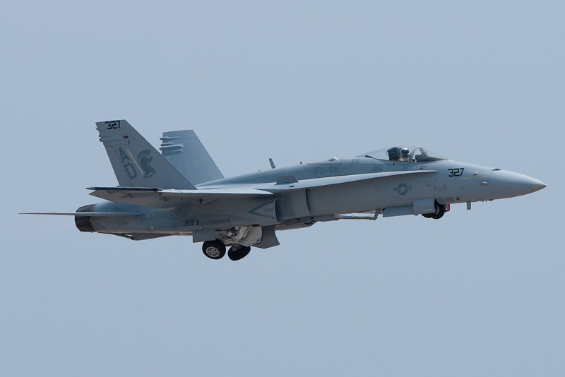 F-18 Hornet lifting up its gear for the demonstration.