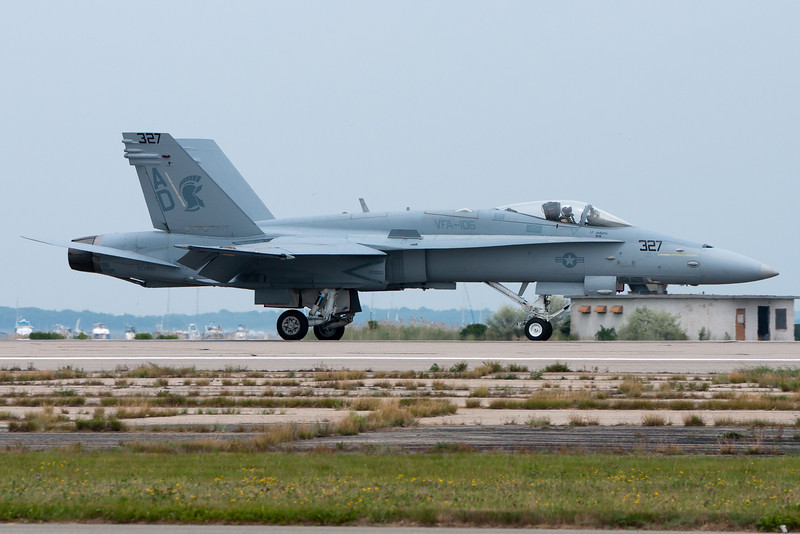 The F-18 Hornet returns from its afternoon demonstration.