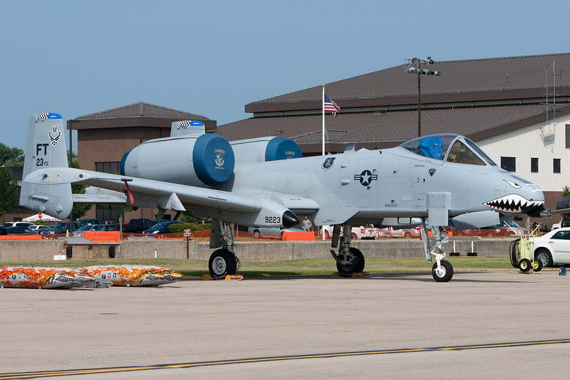 An A-10 Warthog parked on the ramp.