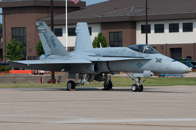 A Demo F-18 parked on the ramp.