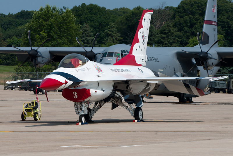 A Thunderbird F-16 parked on the ramp.