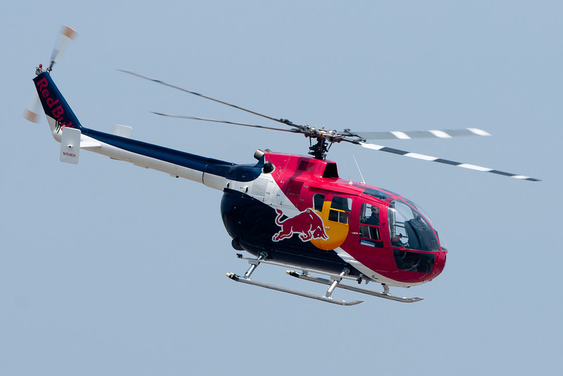This Red Bull helicopter is piloted by the only man licensed in North America to do aerobatics in a helicopter.