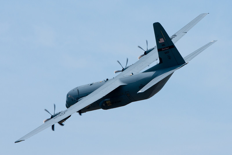 The C-130J doing some maneuvers in a demonstration.