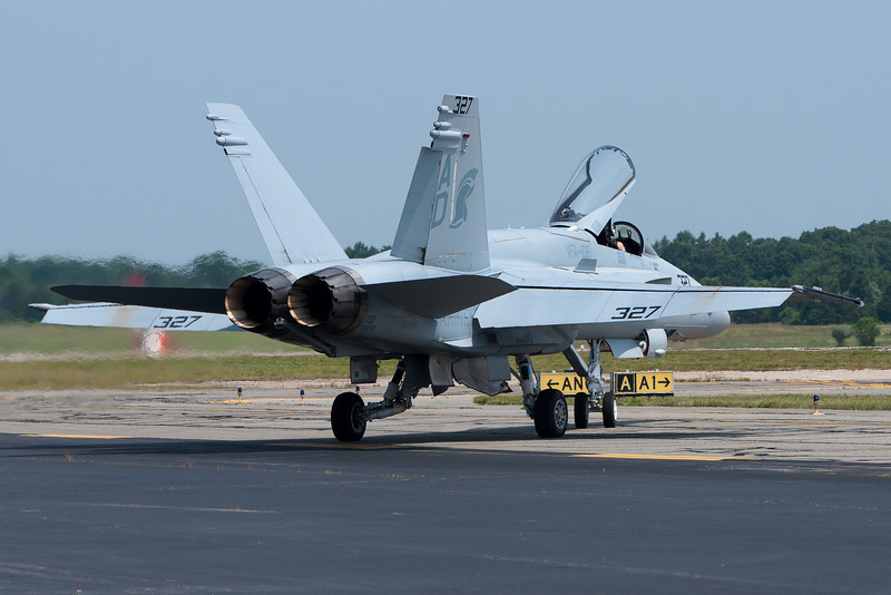The F-18 Hornet taxiing out for its demonstration.