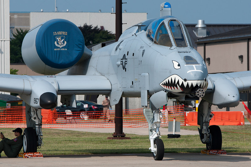A Closeup of an A-10 Warthog sitting on the ramp.
