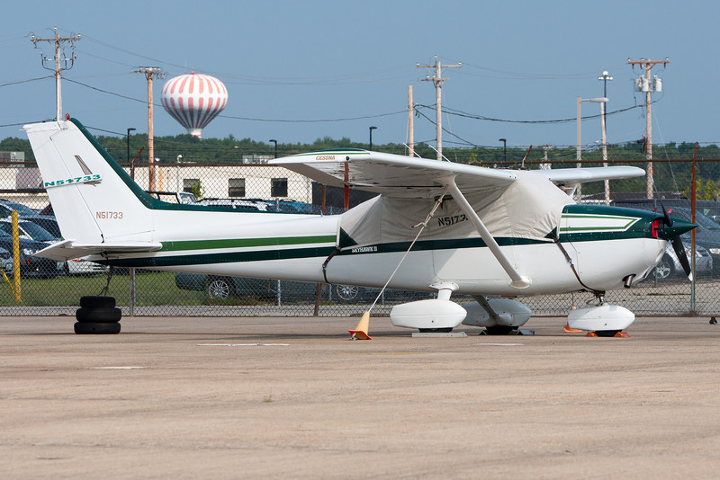 A Cessna Skyhawk parked on the general aviation ramp at Quonset.