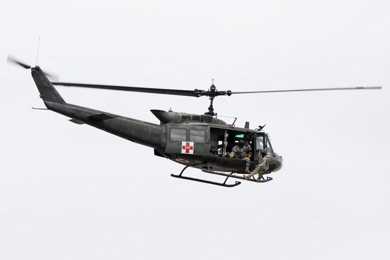 A Huey medevac helicopter.