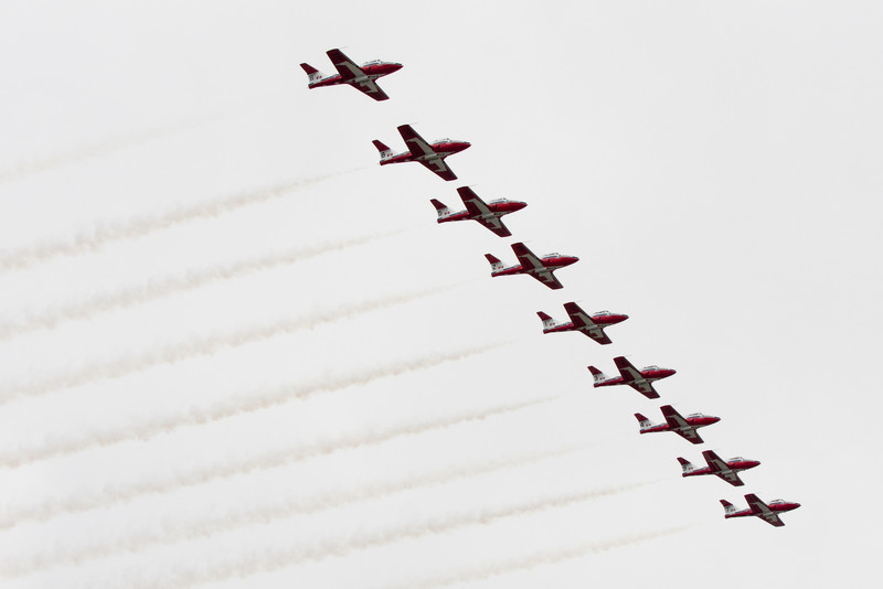 The Snowbirds finish up their show with a parallel flyover of the spectators.