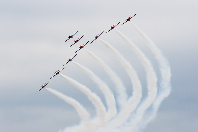 The Snowbirds do a formation.