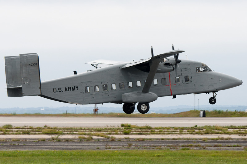 The Short C-23A Sherpa takes off.