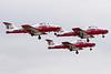 Three Snowbirds take off for their practice run.