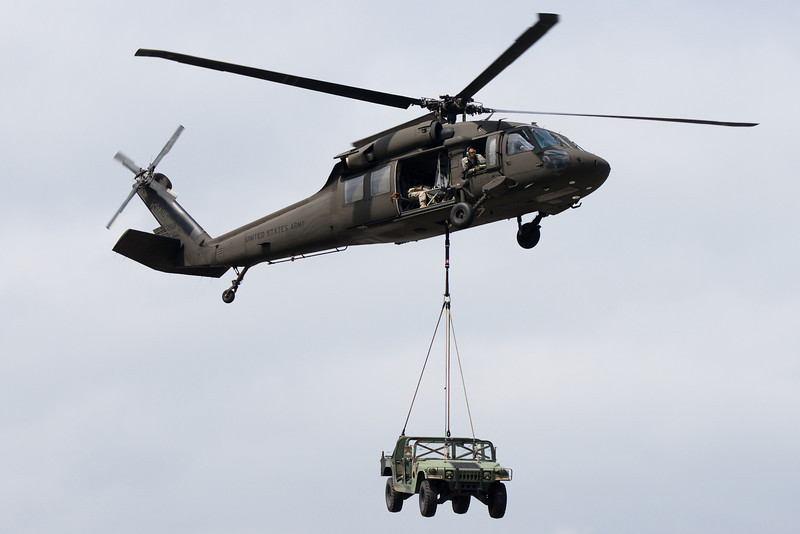 The Blackhawk shows how it can lift large objects like a Humvee over long distances.