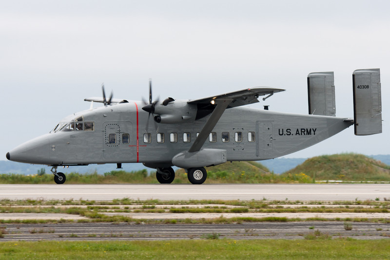 The Short C-23A Sherpa lands.